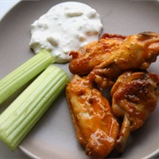 Buffalo Wing Sauce, Blue Cheese Dressing, Celery