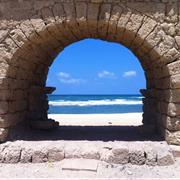 Caesarea Aqueduct Beach on the Mediterranean Sea