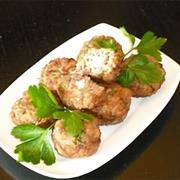 Keftedakia (Small Meatballs) With Feta Cheese Stuffing
