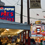 Compare Philly Cheesesteaks From Old Rivals Geno's and Pat's