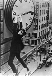 Harold Lloyd Hanging From the Clock in Safety Last (1923)