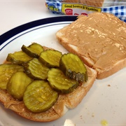 Pickle and Peanut Butter Sandwich
